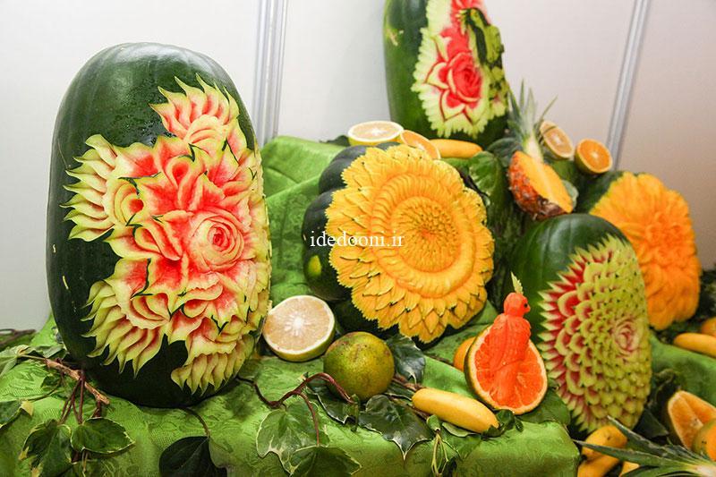 تزیین هندوانه شب یلدا به شکل گل