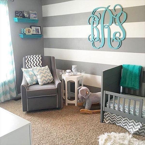 ایده دکور خاکستری اتاق نوزاد