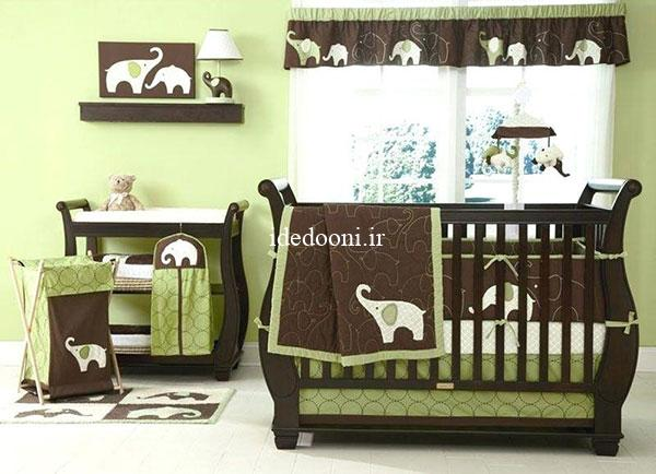ایده دکور سبز برای اتاق نوزاد